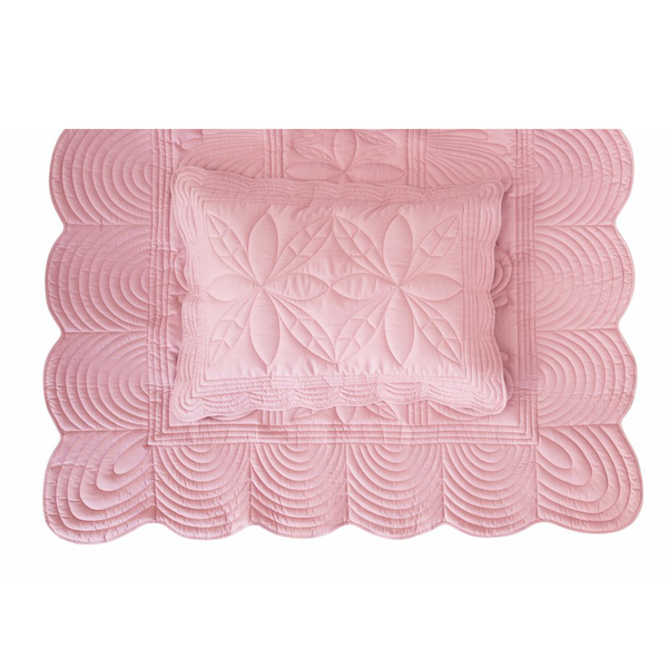 Bonne Mère (Single) Bedspread Quilt & Pillow Set - Rose