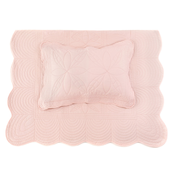 Bonne Mère Single Bedspread Quilt & Pillow Set - Shell Pink