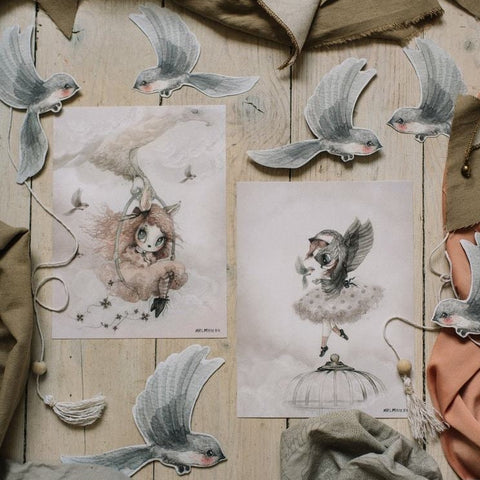 Mrs Mighetto Land of Birds 2 Pack Prints - Miss Sofia/Miss Annie 18x24