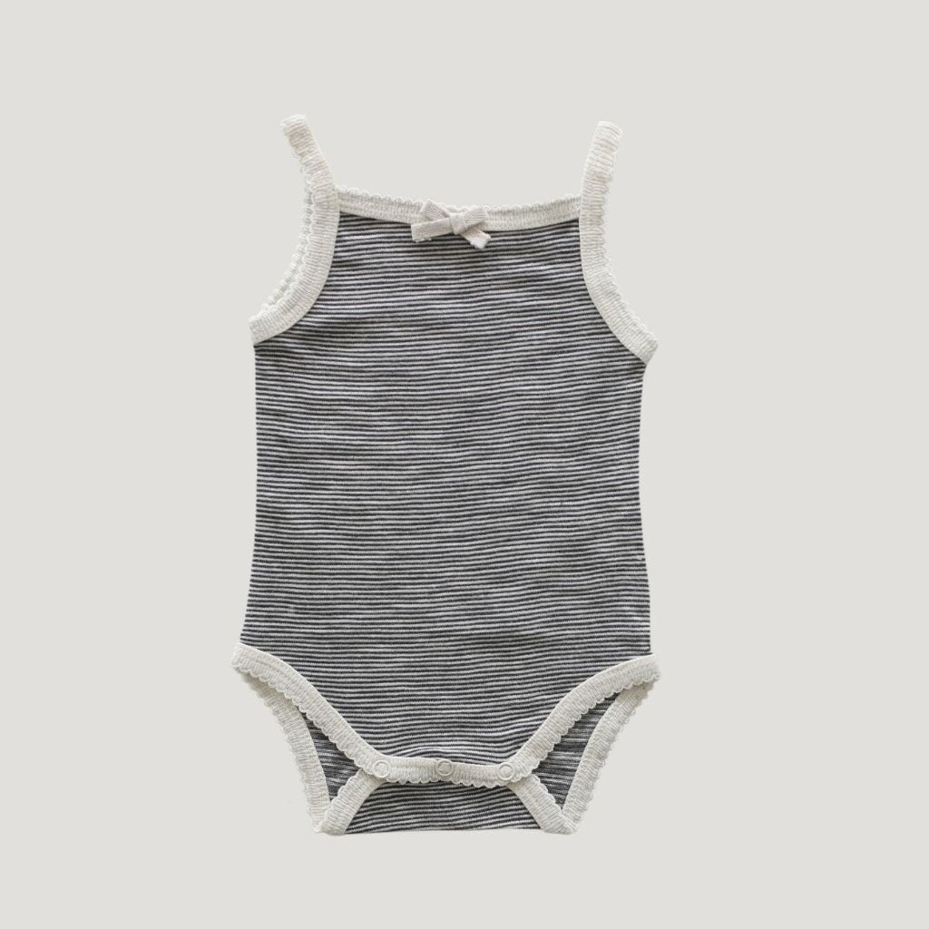 Jamie Kay Cotton Stripe Singlet Bodysuit - Oatmeal/ Navy