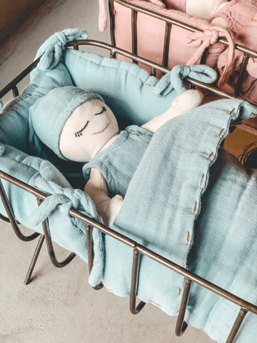 PRE-ORDER | Numero 74 Doll Metal Cot & Bedding Set - Sweet Blue