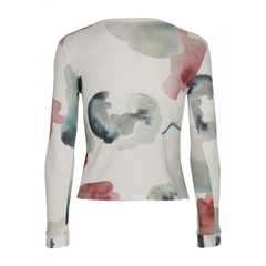 Womens Popupshop Long Sleeve Waffle Top - Water Flower