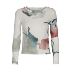 Popupshop Long Sleeve Waffle Top - Water Flower