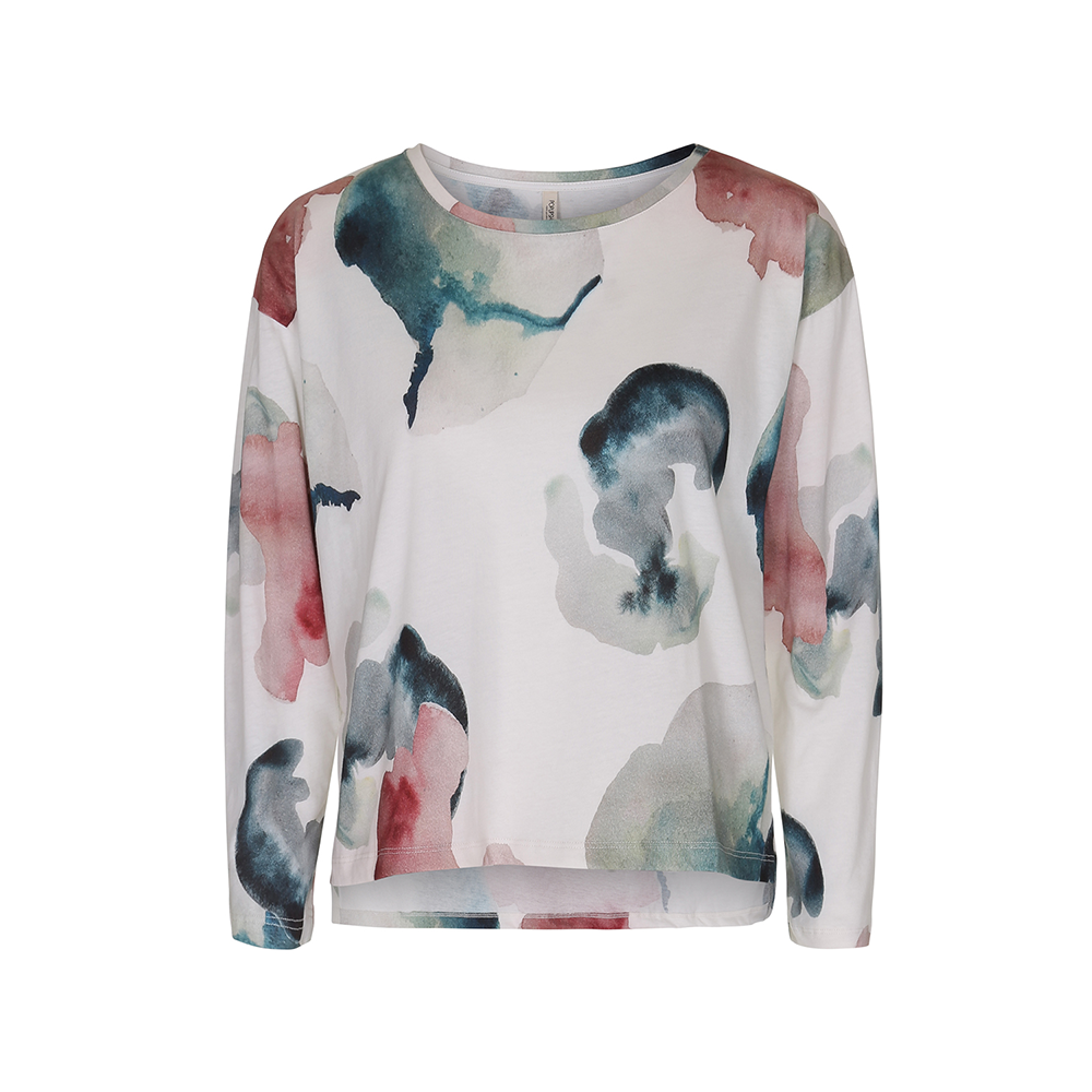 Womens Popupshop Long Sleeve Jersey Top - Water Flower