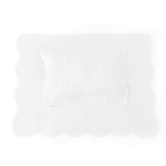 Bonne Mère Single Bedspread Quilt & Pillow Set - White