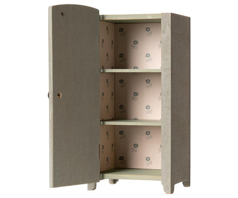 Maileg Vintage Closet With Shelves - Mint Grey