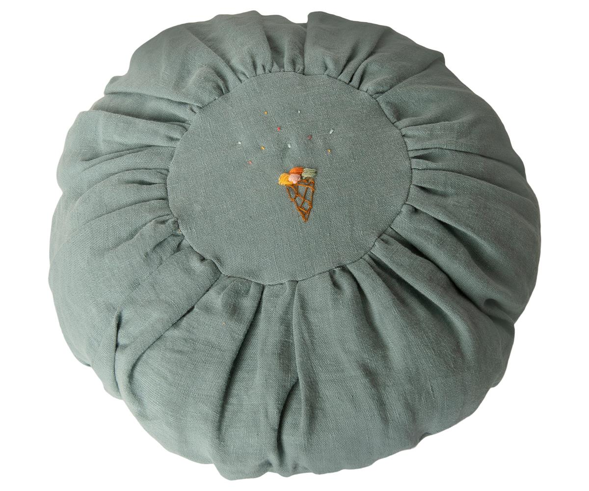 Maileg Linen Cushion Round - Dusty Blue