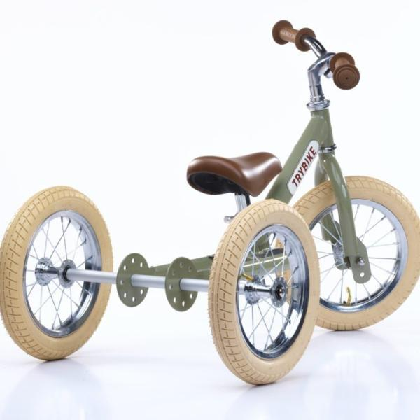 Trybike - Green Vintage Steel 2-In-1 Balance Bike & Trike
