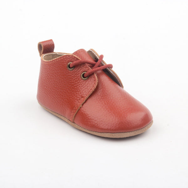 Deer Grace XO Redwood Leather Baby Oxfords
