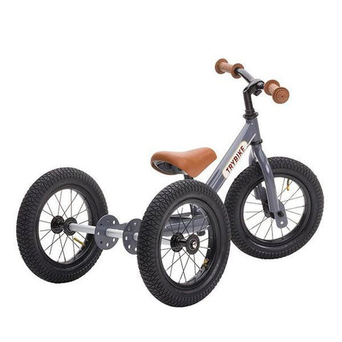 Trybike - Grey Vintage Steel 2-In-1 Balance Bike & Trike