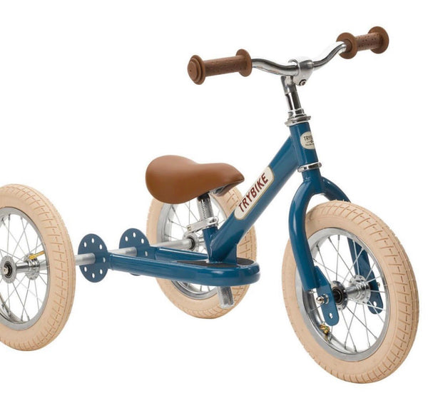 Trybike - Blue Vintage Steel 2-In-1 Balance Bike & Trike