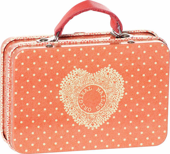 Maileg Metal Suitcase - Orange Dots