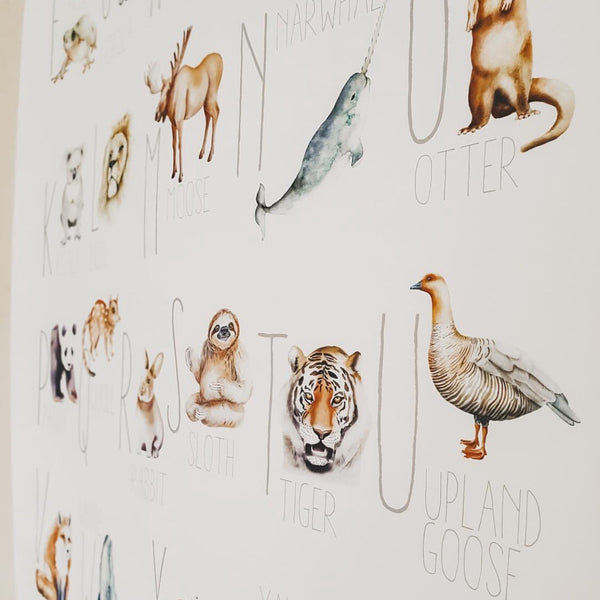 Modern Monty Alphabet Natural Cotton Print - Animal Size A2