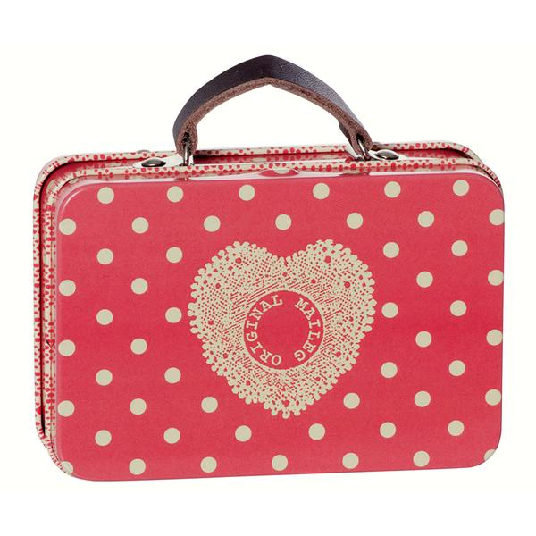 Maileg Metal Suitcase - Melon With Big Dots