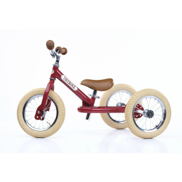 PRE-ORDER | Trybike - Red Vintage Steel 2-In-1 Balance Bike & Trike