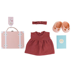 Olli Ella Dinkum Doll Travel Togs Set - Rose