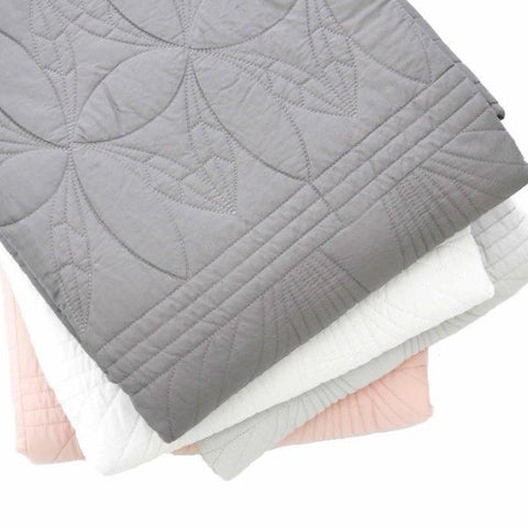 Bonne Mère (Single) Bedspread Quilt & Pillow Set - Elephant Grey