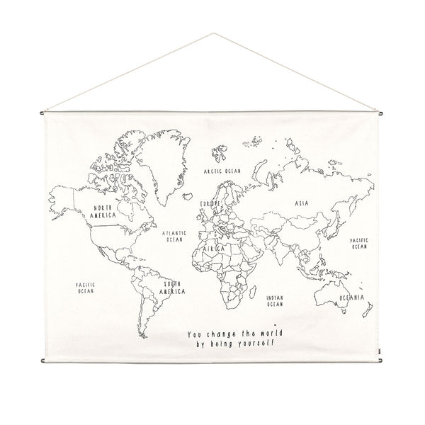 Numero 74 School Poster Embroidery Kit - World Map