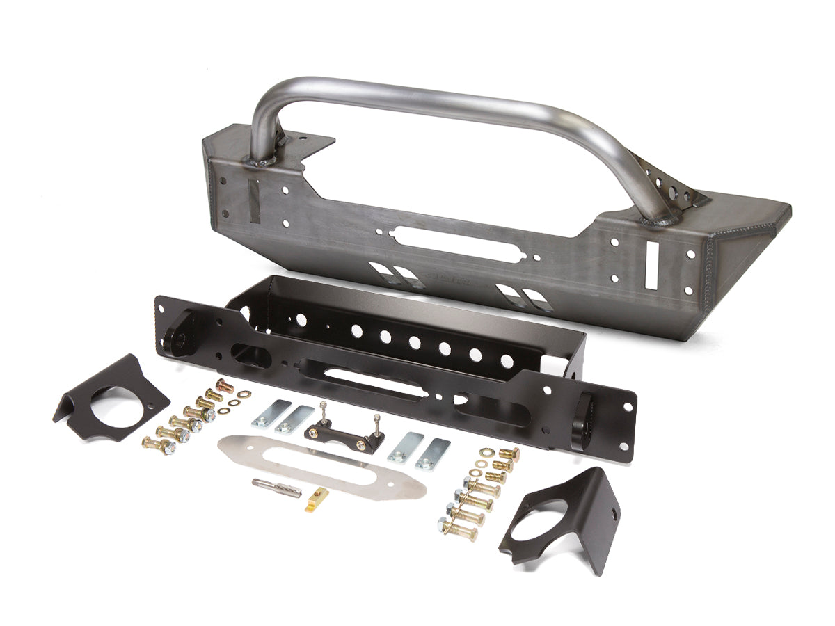 Jeep Bumper Winch Guard Low Profile 07-Pres Wrangler JK, JKU Front Steel Bare GenRight - HQ Offroad