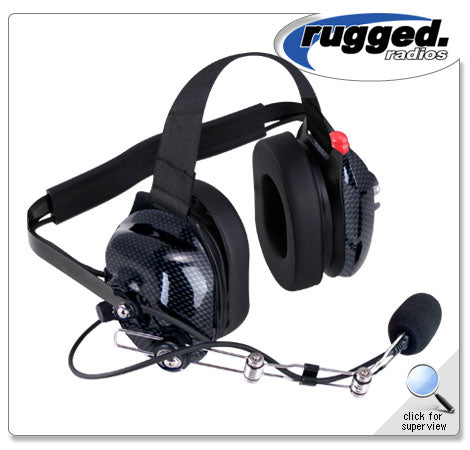 H42 Black/Carbon Fiber Colored 2-Way Radio Headset w/ PTT