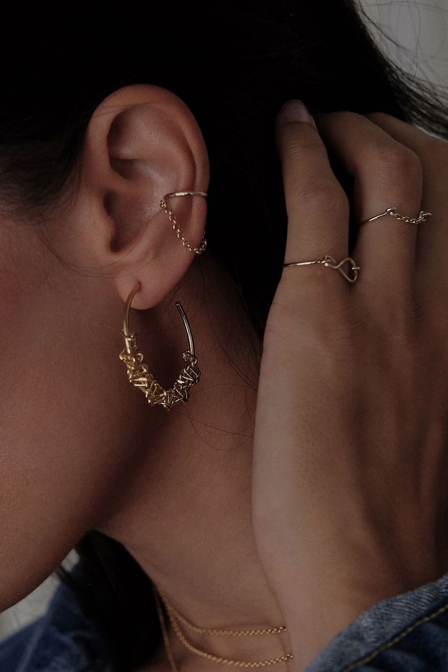 Kate Chain Earcuff | 9K Yellow Gold