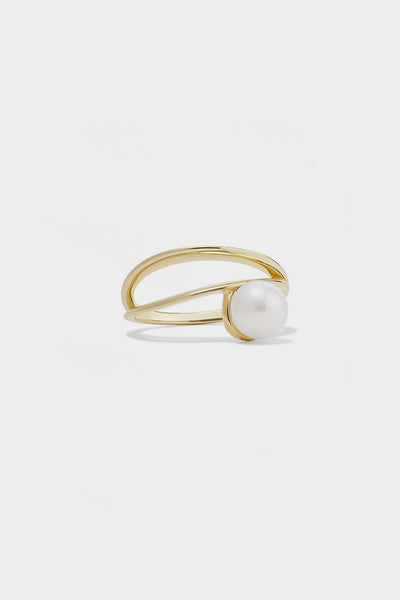 Double Band Pearl Ring | 9K Yellow Gold