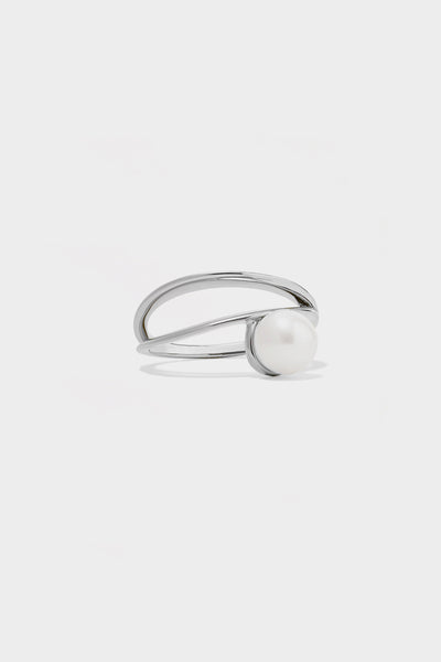 Double Band Pearl Ring | Silver