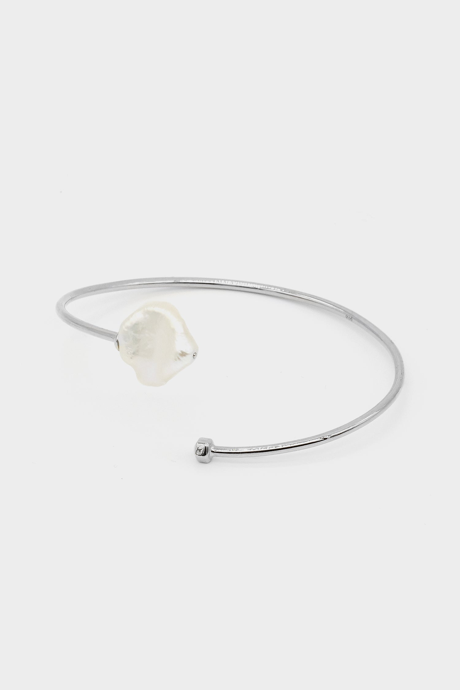 Keshi Pearl Bangle | Silver