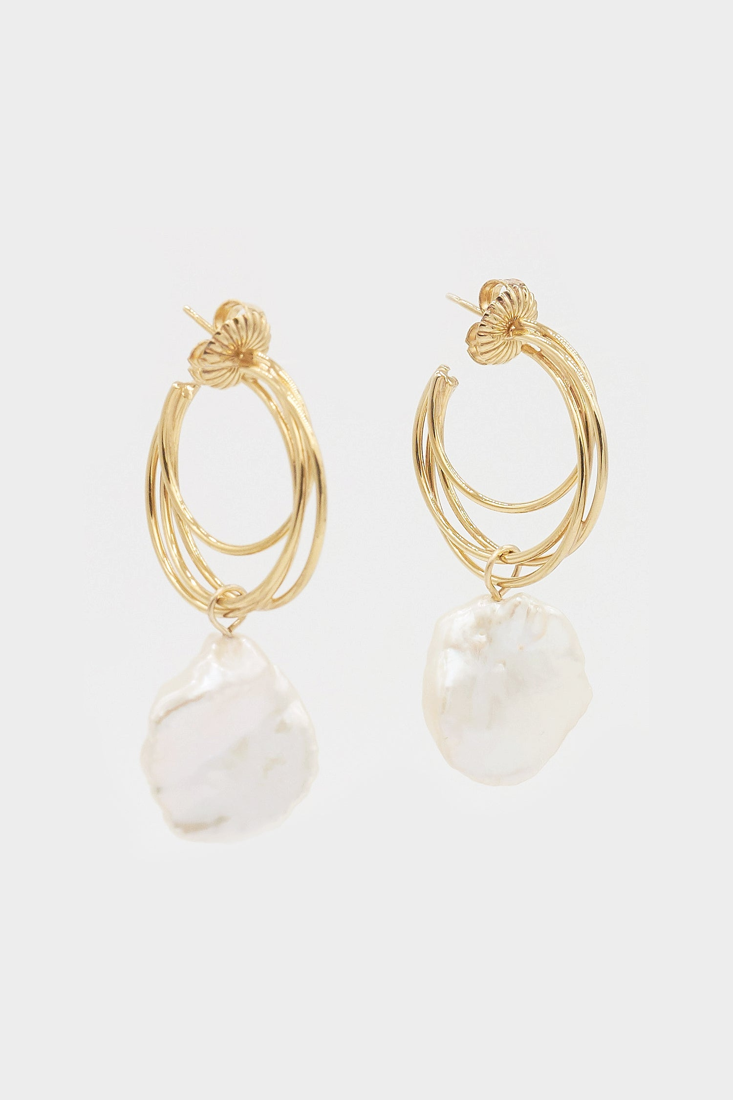Lindsey Earrings with Keshi Pearls | Gold Plated