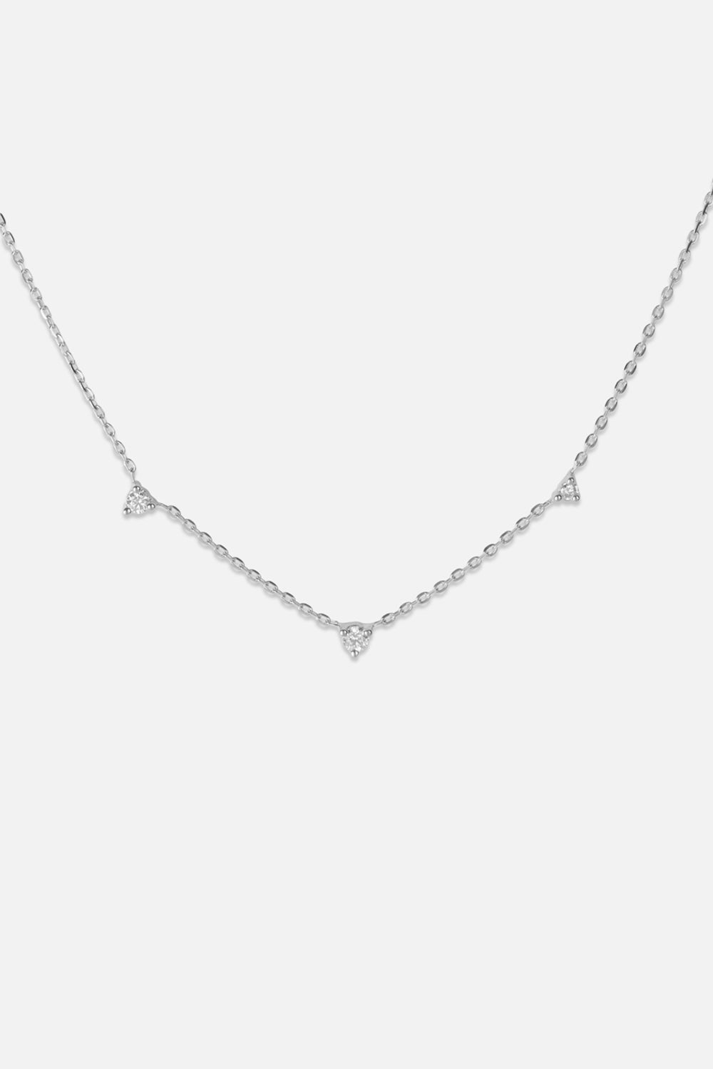 3 Round Diamond Necklace | White Gold