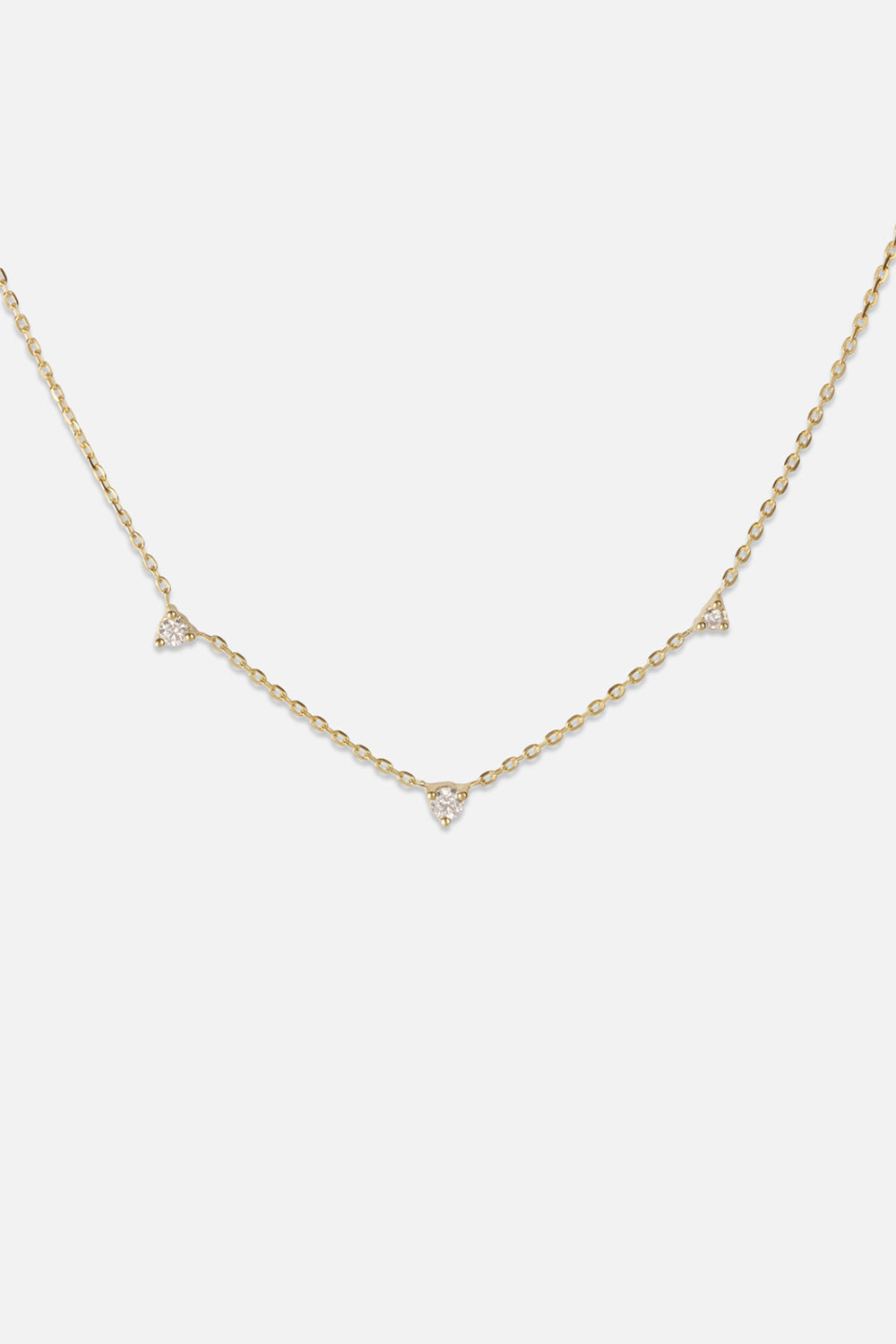 3 Round Diamond Necklace | Yellow Gold
