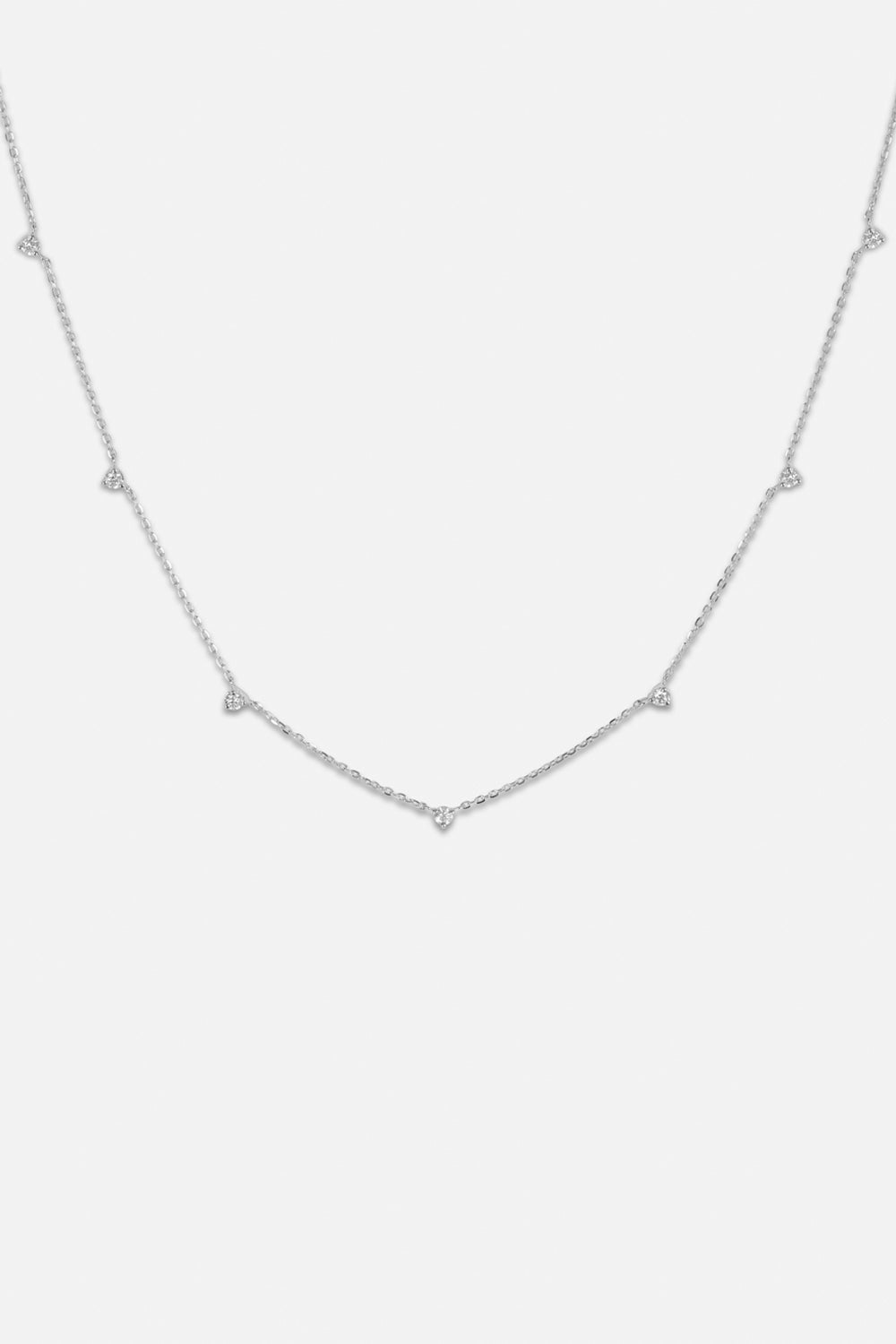 7 Round Diamond Necklace | White Gold