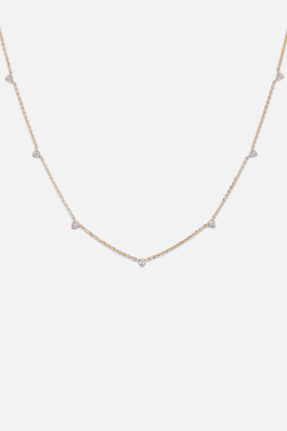 7 Round Diamond Necklace | Yellow Gold