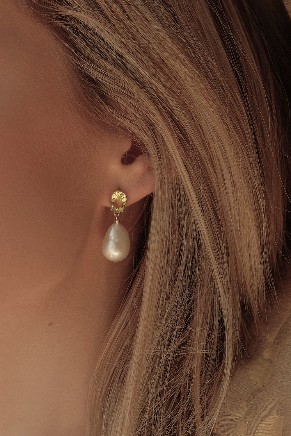 Lemon Quartz Pearl Earrings | 9K Yellow Gold
