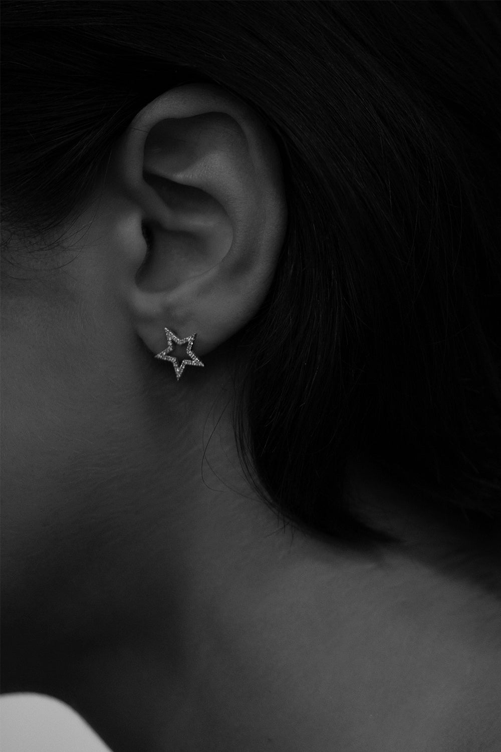 Diamond Star Stud Earrings | 18K White Gold