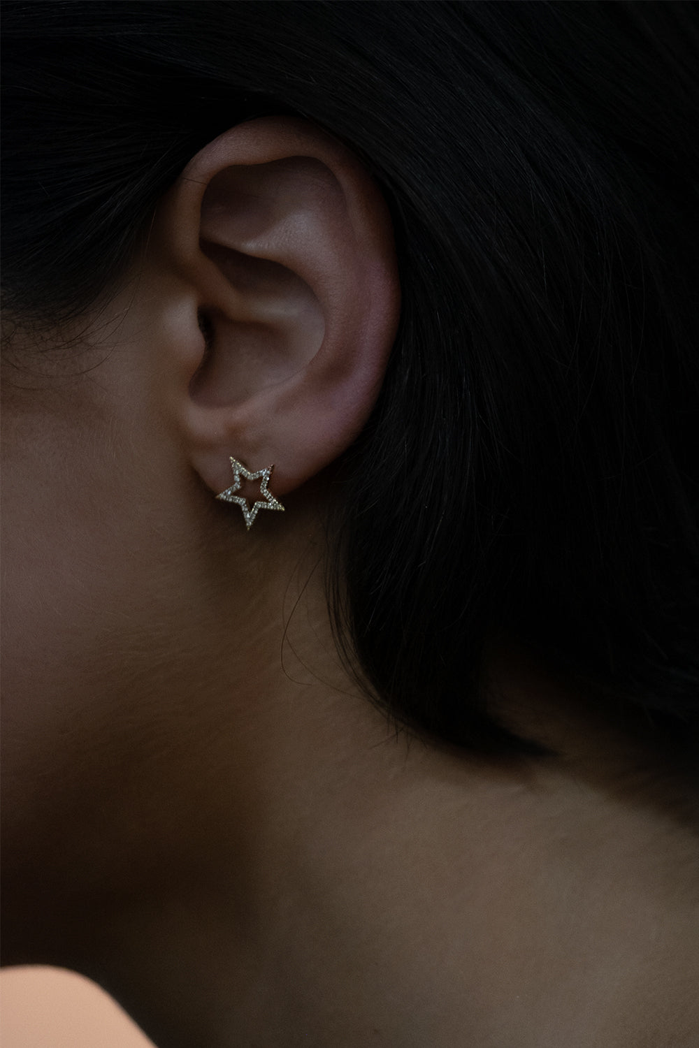 Diamond Star Stud Earrings | 18K Yellow Gold