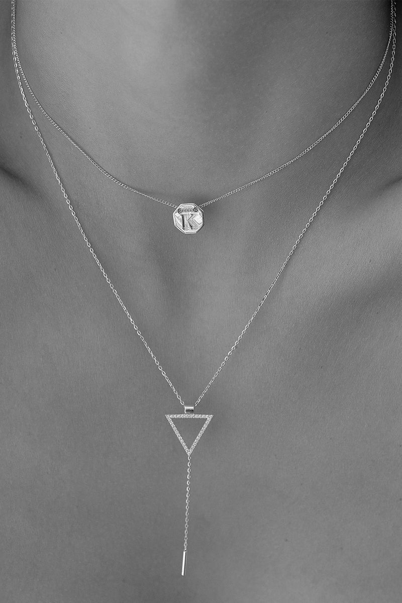 Diamond Triangle Lariat | 9K White Gold