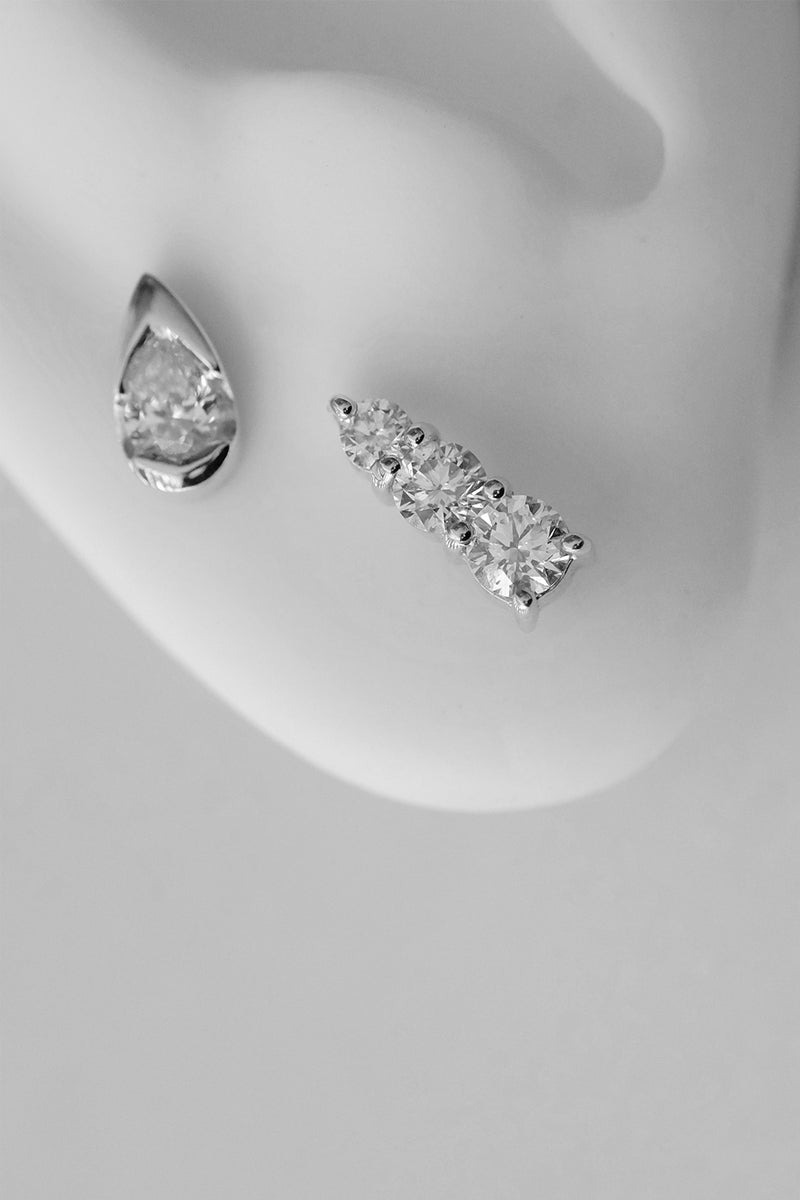 Mini Pear Diamond Stud | 18K White Gold