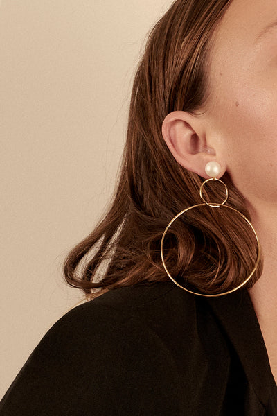 Double Drop Hoop Earrings with Pearl | Gold Plated