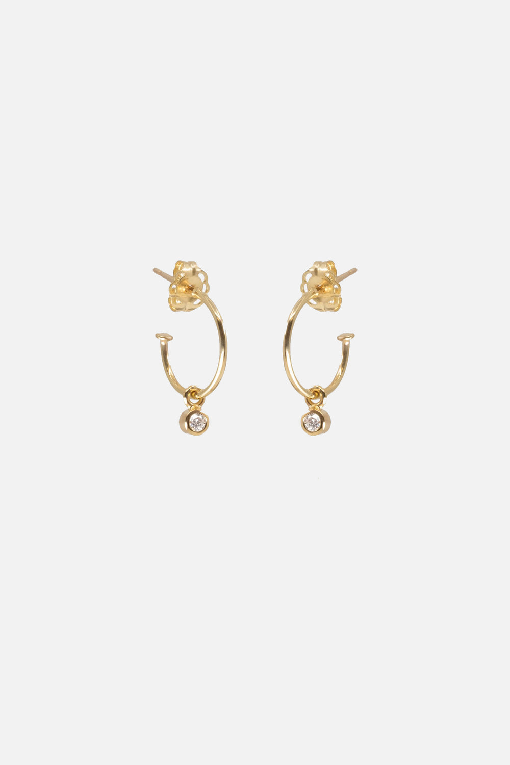 Hoops with Diamond Drop | 9K Yellow Gold