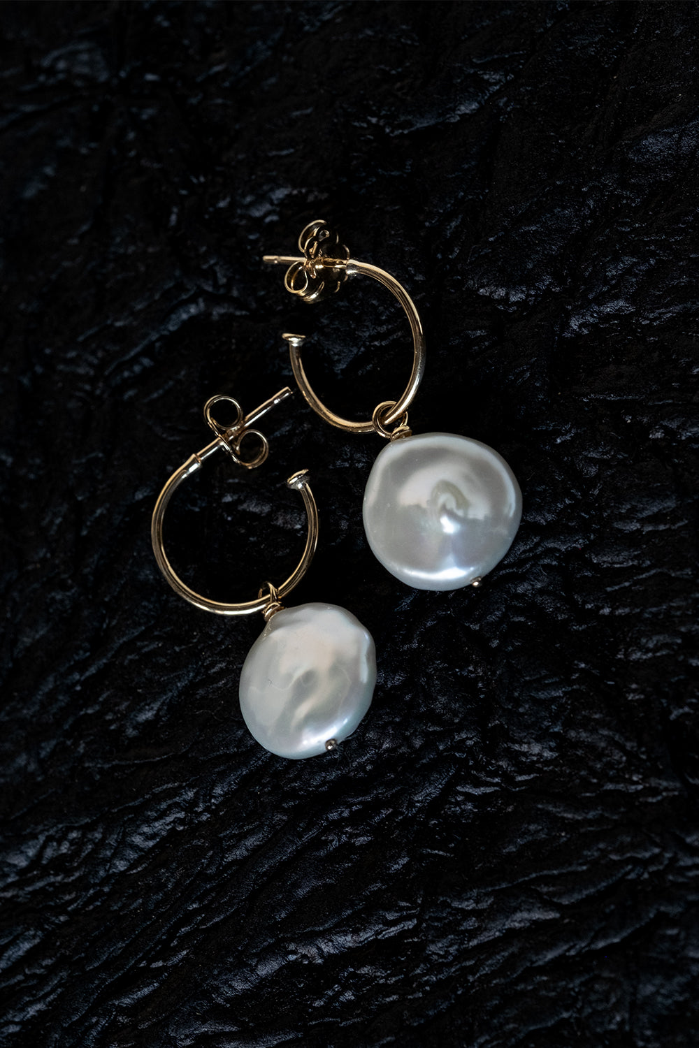 Keshi Pearl Hoops | 9K Yellow Gold