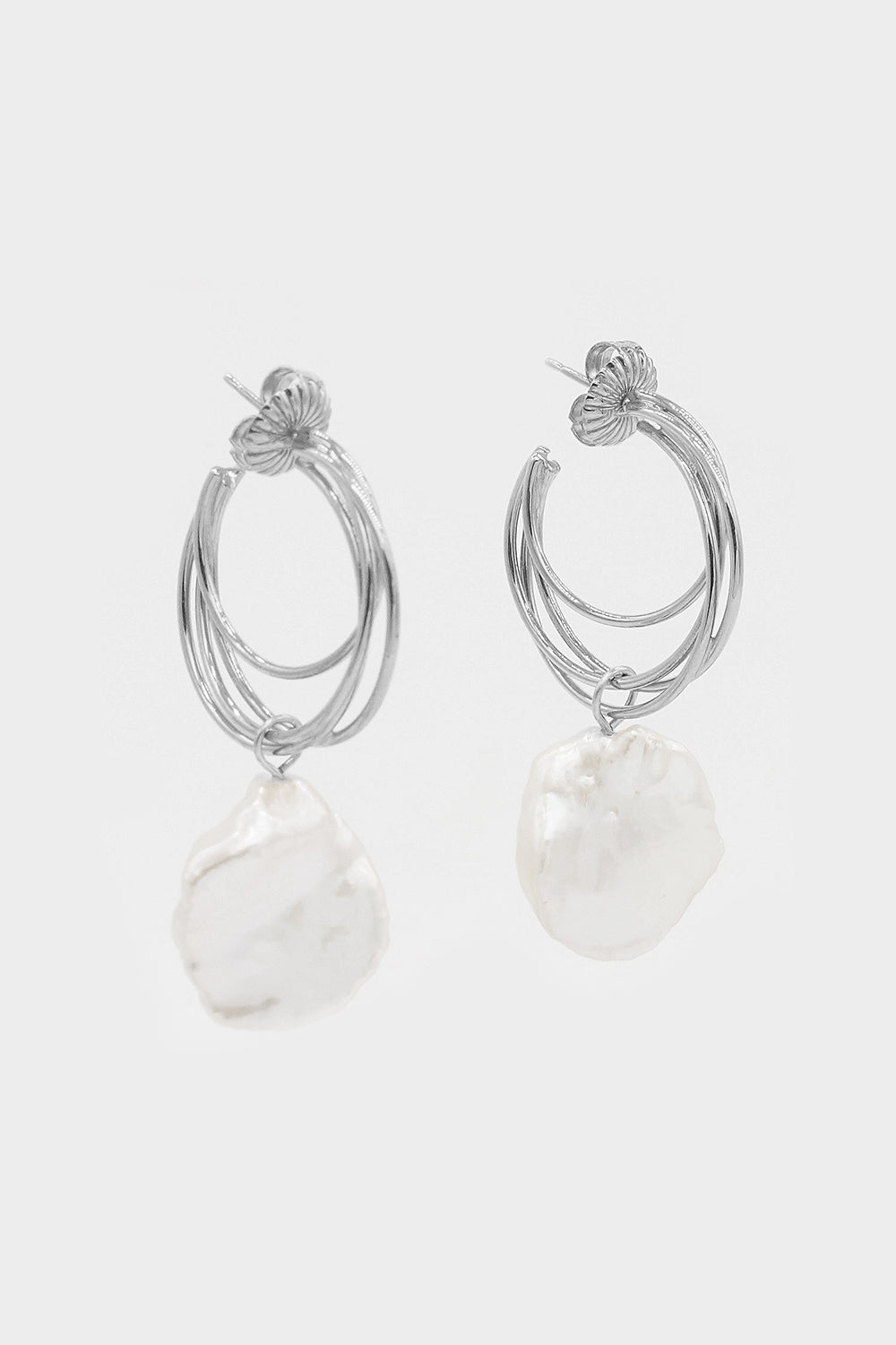 Lindsey Earrings with Keshi Pearls | Silver