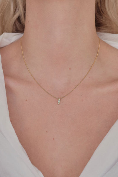 Mini Marquise Diamond Necklace | Yellow Gold