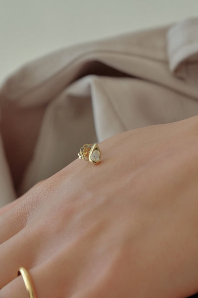 Mini Pear Diamond Stud | 18K Yellow Gold