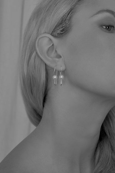 Mini Marion Pearl Earrings| Silver