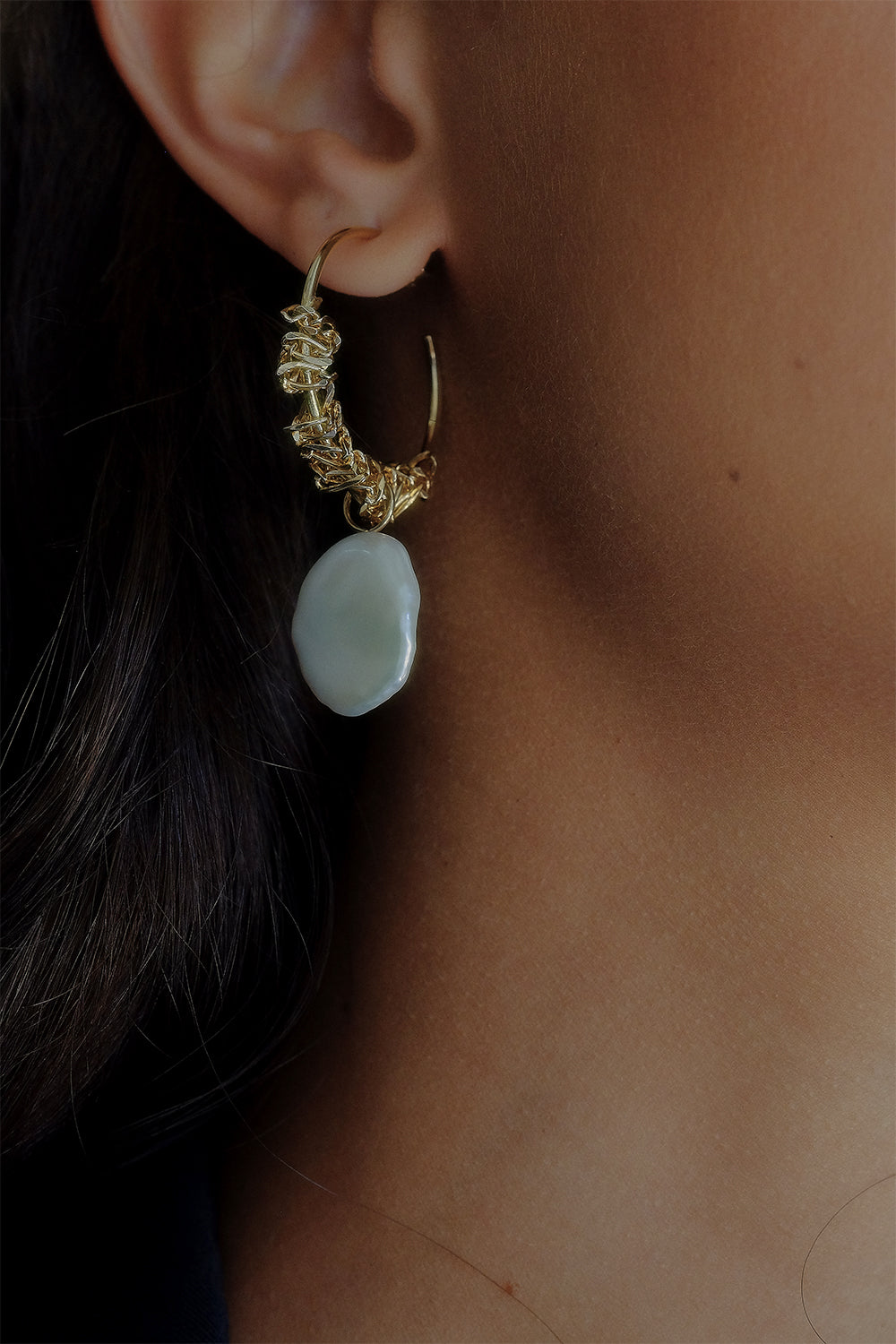 Rachael Hoops with Keshi Pearls | Gold Plated