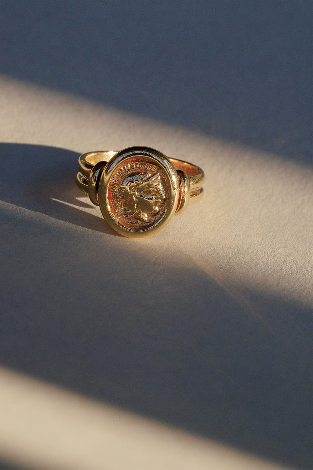 Roman Oval Coin Ring | 9K Yellow Gold