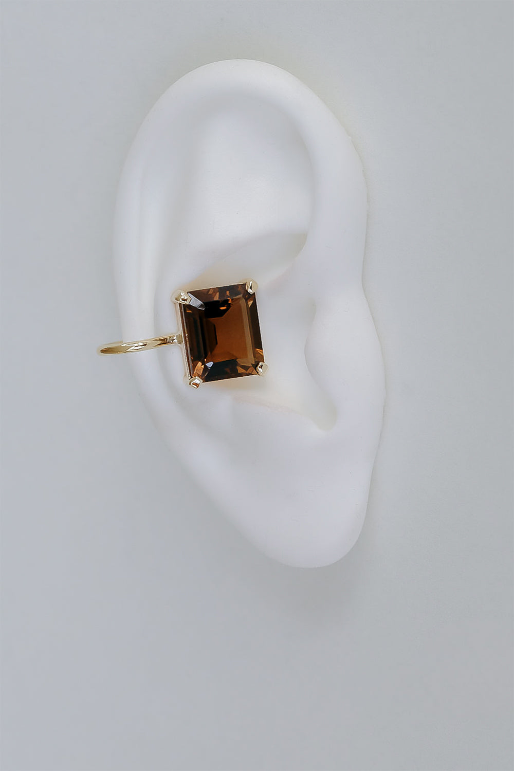 Smokey Quartz Ear Cuff | 9K Yellow Gold