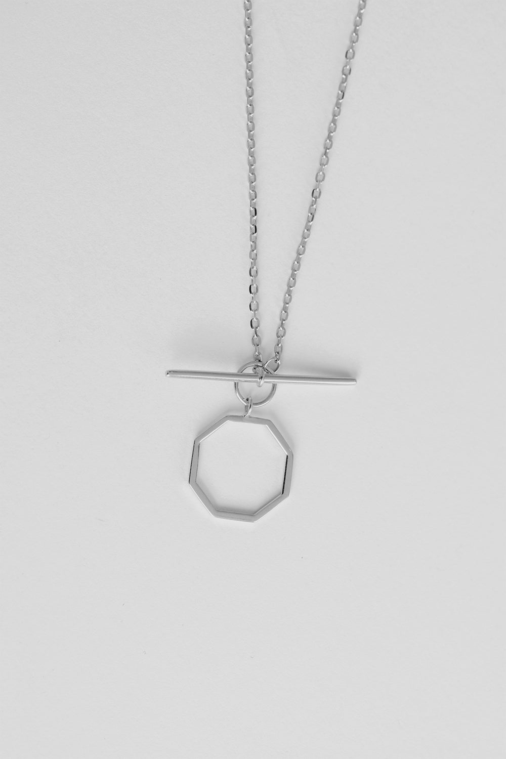 T-Bar Octagon Necklace | Silver
