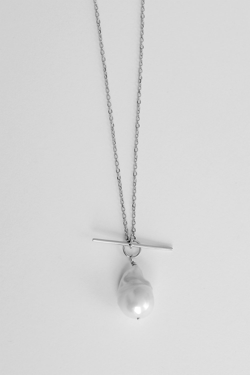T-Bar Pearl Necklace | Silver